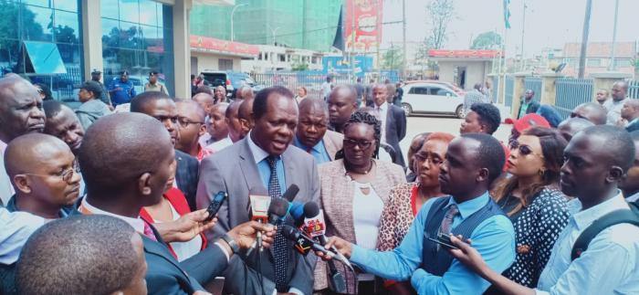 Jubilee Party Secretary General Raphael Tuju addresses journalists outside the party headquarters on October 16, 2019.