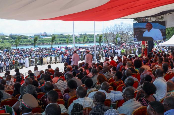 President Uhuru Kenyatta gives an address during the 55th Mashujaa Day celebrations at Waterfront Park in Mombasa on Sunday, October 20, 2019.