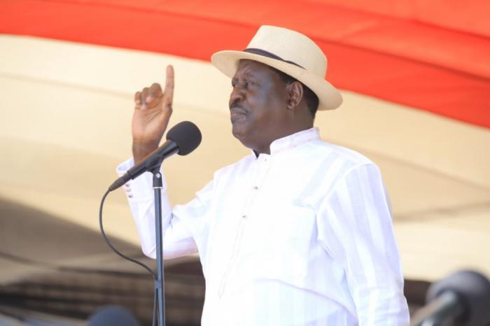 Former Prime Minister giving a speech during the Mashujaa Day celebrations at Water Front in Mombasa on Sunday, October 20, 2019.