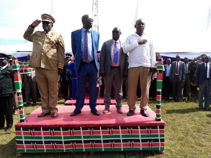 Rarieda MP Otiende Amollo(right) when he led Mashujaa celebrations in Nyakongo  Primary school on Sunday October 20. The Legislator called upon DP William Ruto to support the BBI