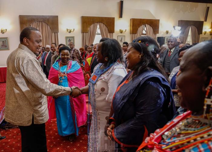 president Kenyatta shakes hands with some of the visitors at State House Naiirobi on Friday November 8