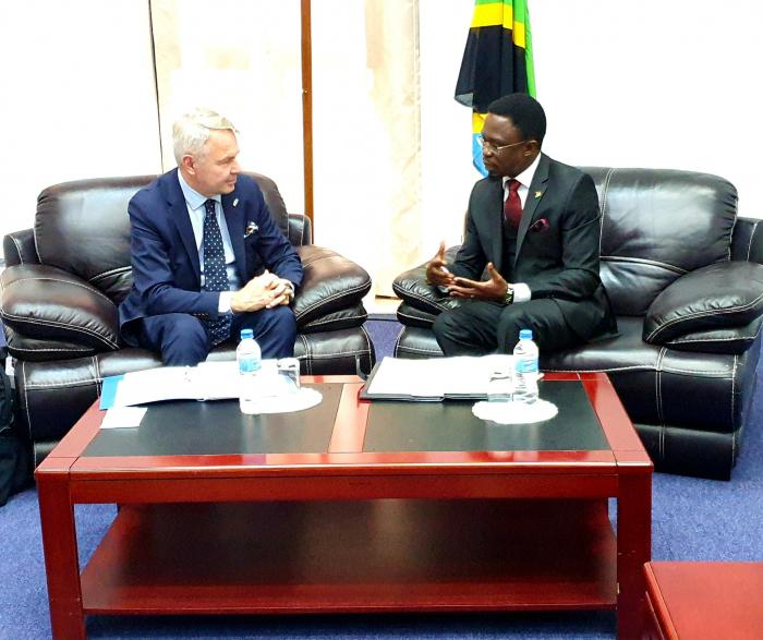 Ababu Namwamba with Pekka Haavisto, minister for Foreign Affairs of Finland on sidelines of the 18th Africa-Nordic Foreign Affairs Ministers Meeting in Dar-es-Salaam on November 8.
