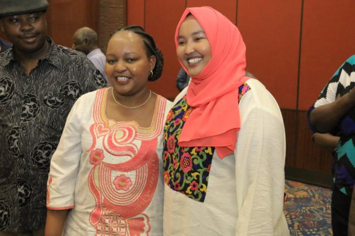 Member of the Kenyan National Assembly for Wajir County (r) and Kirinyaga Governor Anne Waiguru. November 3, 2019.