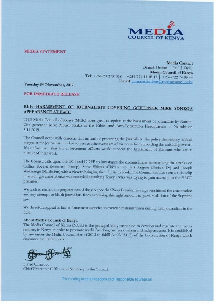 MCKS's reaction to Mike Sonko's alleged assault of a journalist at EACC headquarters on Tuesday, November 5