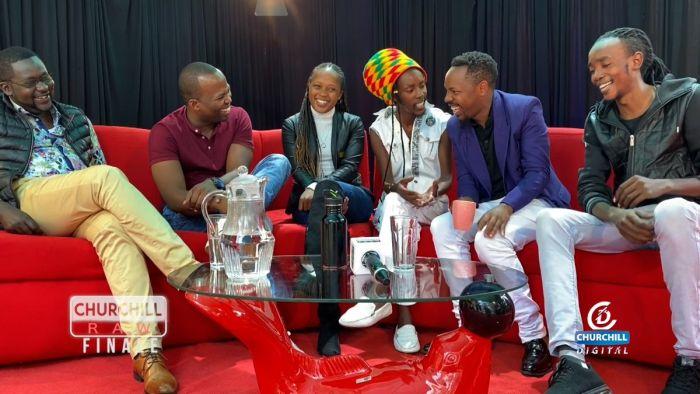 Churchill, MC Jessy, Shiks Kapienga, Mbusi and Sleepy David crack jokes during Churchill Raw's final episode on Thursday, October 31