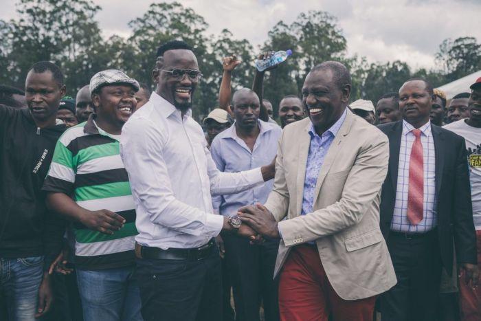 Deputy President William Ruto and former aspirant McDonald Mariga at the Bomas of Kenya on Friday, November 22.