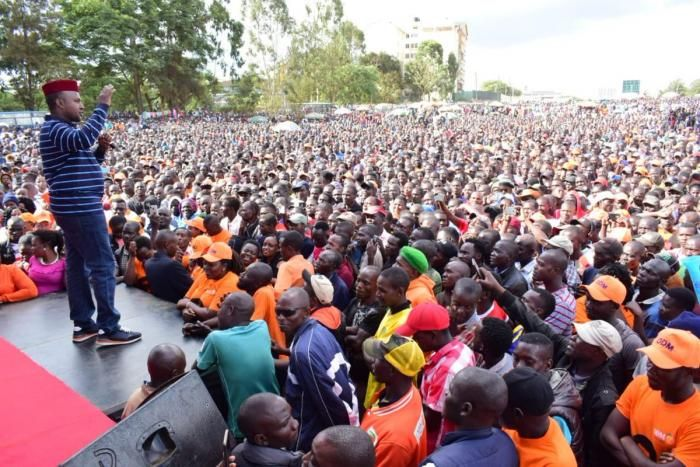 Suna East MP Junet Mohammed speaking during a thanksgiving rally in Kibra on Sunday, November 10