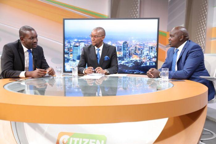 Edwin Sifuna with Nandi Senator Samson Cherargei on Citizen TV on Tuesday, November 12, 2019