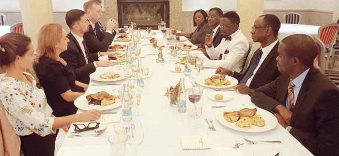 Ababu Namwamba( in a white tuxedo) when they were treated to dinner by the State Secretary for Foreign & European Affairs of the Slovak Republic on November 13.