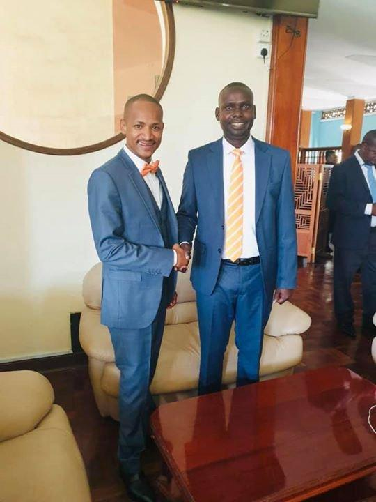 Babu Owino welcoming Kibra MP Hon.Imran Okoth to the National Assembly. November 19, 2019.