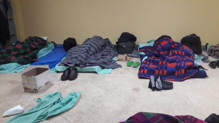 Some of the photos that have surfaced online of the teachers sleeping on the floor (Twitter)