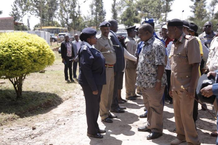 Interior CS Fred Matiang'i meets police officers when he commissioned the construction of Kagio Police Station, Kirinyaga County on Friday, November 29, 2019. He urged politicians to respect public servants