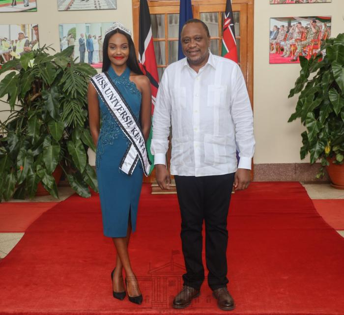 President Uhuru Kenyatta and Miss Universe Kenya 2019 Stacy Michuki at State House on Tuesday, November 25
