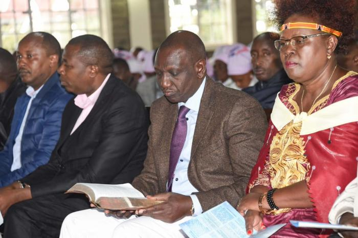 Deputy President William Ruto during a service at on Sunday, November 1.