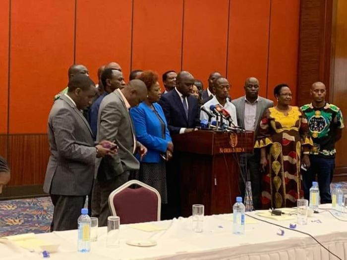 Elgeyo Marakwet Senator Kipchumba Murkomen addressing the media from Serena Hotel, Nairobi on January 21, 2020.