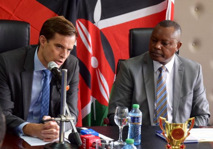 German Deputy Ambassador Thomas Wimmer with DCI George Kinoti at the directorate's headquarters on Friday, December 6, 2019.