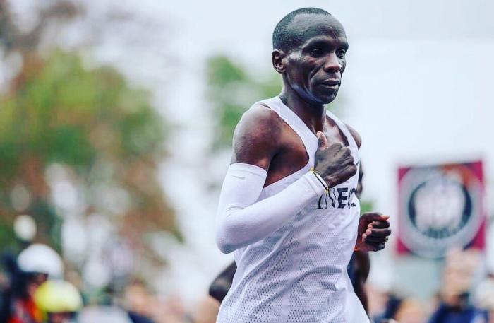 Eliud Kipchoge running the INEOS challenge run in Vienna, Austria on October 12, 2019. He became the first human to run a 42-kilometer race in under 2 hours: (1:59:40).