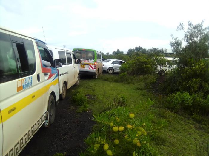 Motorists resorted to driving off-road in search of  a way out of the Traffic Jam