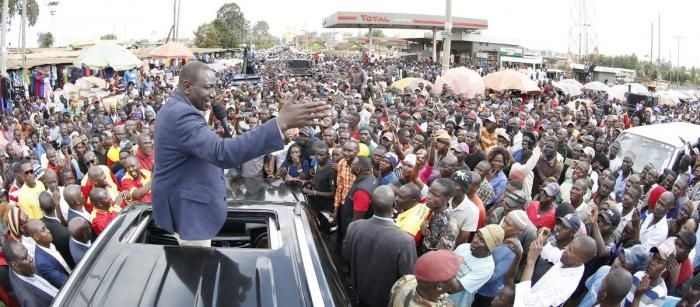 Ruto addresses a crowd at Kitale Market and Bus Terminus on Friday, December 13, 2019