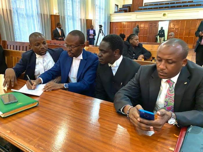Makueni Senator Mutula Kilonzo (right) and other lawyers appear in court on Monday, December 9, 2019, as Sonko was being charged.