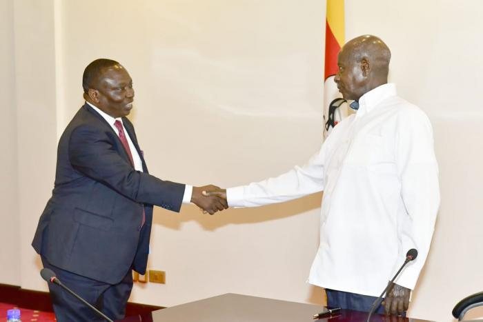 Ugandan President Yoweri Museveni meets KNCCI chairman, Richard Ngatia in Kampala, Uganda on Thursday, January 17