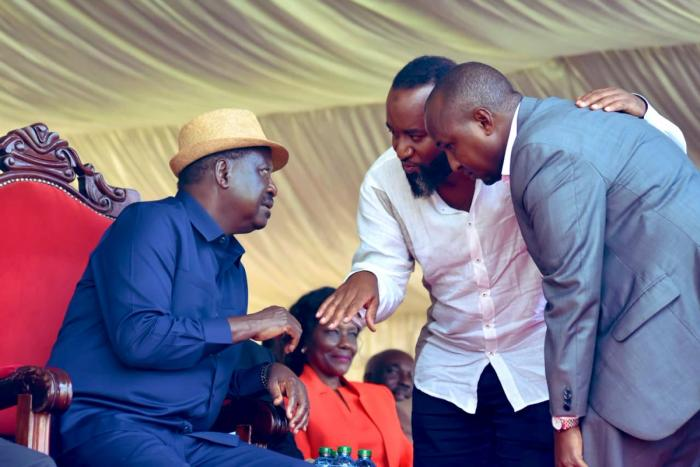 ODM Party leader Raila Odinga, Mombasa governor Hassan Joho and Sune East MP JUnet Mohamed in a past political rally