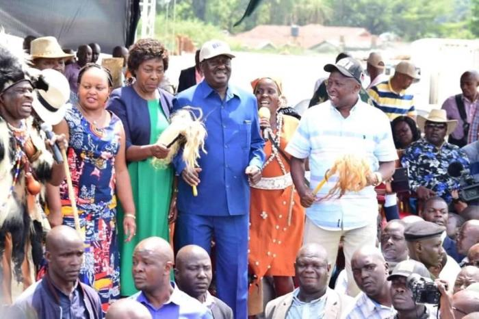 ODM Leader Raila Odinga, Governor Anne Waiguru, and other leaders at the Bukhungu Stadium on Saturday, January 18, 2020.
