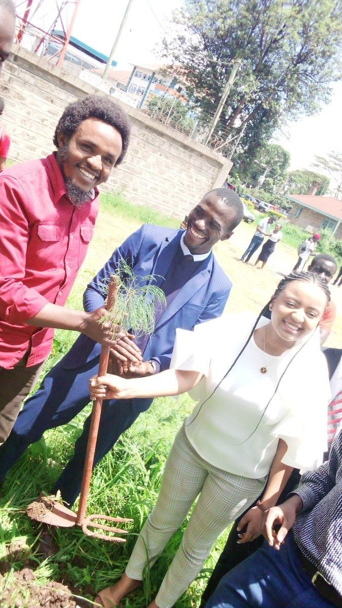 A photo of Zachary Kinuthia during a past tree planting exercise.