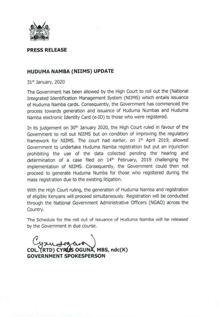 Press Release on Huduma Namba