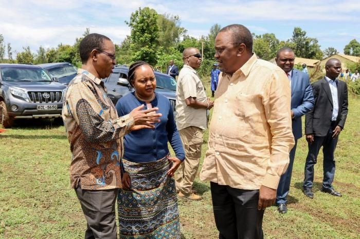 President Uhuru Kenyatta, Kirinyaga governor Anne Waiguru and Interior PS Karanja Kibicho during Kenyatta's tour in Kirinyaga on Saturday, February 1