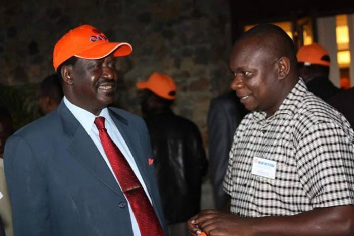 Raila Odinga with Philip Etale. Reports have it that Raila has gone on a firing spree within his ODM in an overhaul that will see the party rebrand