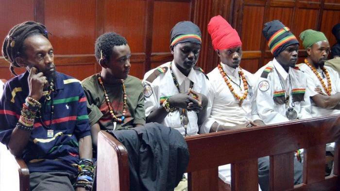 A group of Rastafarian faithfuls at the Milimani law courts.