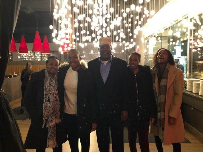 Miguna Miguna, his wife Jane Miguna (second left) and daughters while they celebrated their 20th anniversary on Thursday, February 13, 2020.