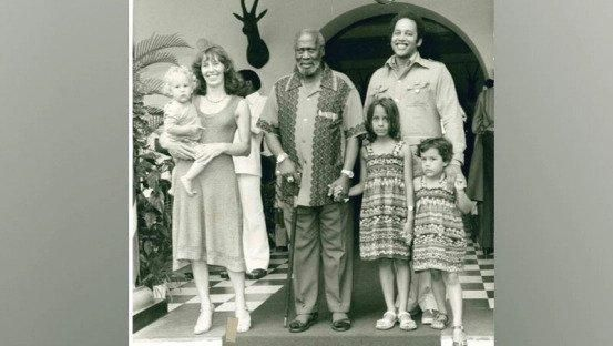 Founding father Jomo Kenyatta with his son Peter magana, his wife and their children.
