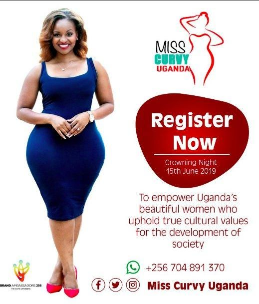 Miss Curvy Uganda 2019 promotional poster that has Grace Msalame's image and likeness