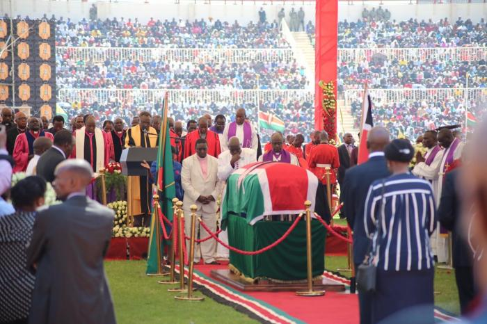Former President Daniel Arap Moi's body at the Nyayo National Stadium during a memorial service on Tuesday, February 11