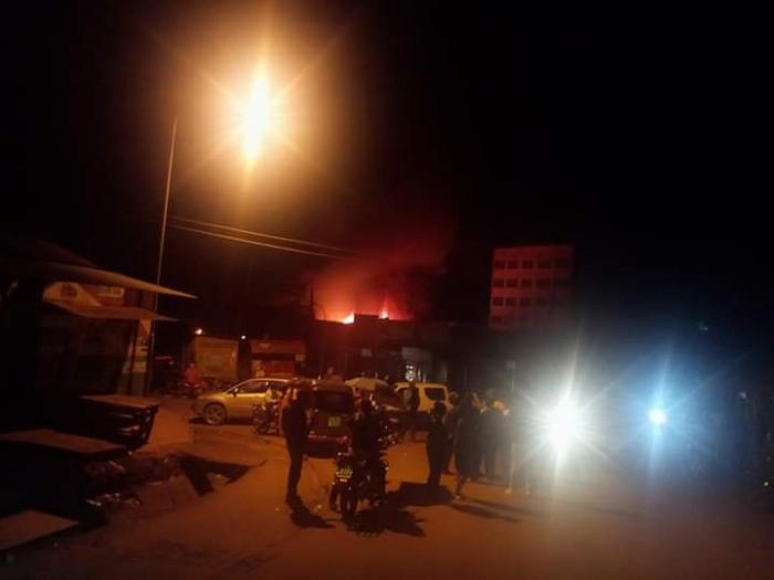 Maathai supermarket on fire. It was burnt to the ground after it caught fire on Sunday night, October 20.