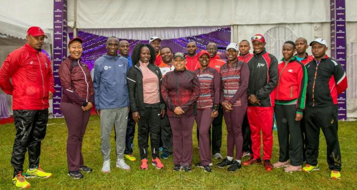 First Lady Margaret Kenyatta (Middle), to her right Grace and Eliud Kipchoge.