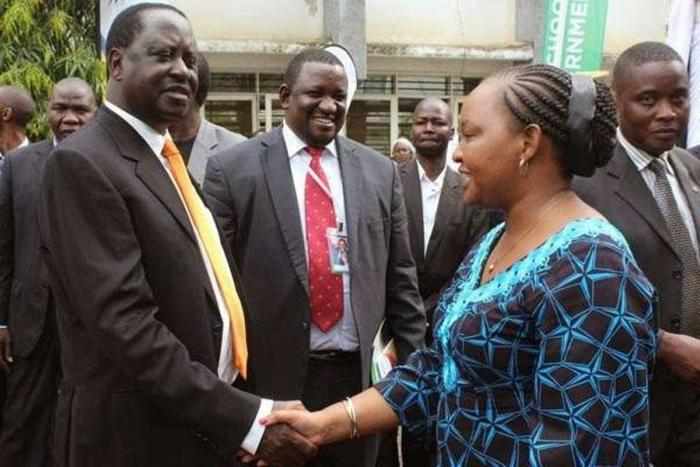 Anne Waiguru with Raila Odinga