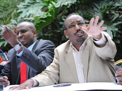 Former Deputy speaker Farah Maalim during a press conference at Serena Hotel on Jul 22, 2015.