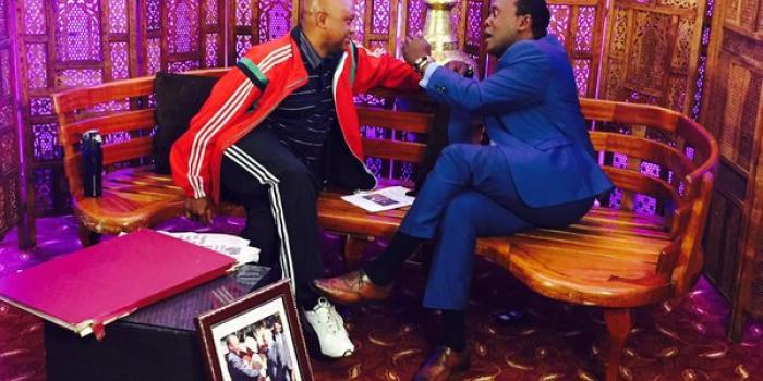 Citizen TV's Jeff Koinange hosting Tony Gachoka on JKL. Gachoka attended the show under the influence of alcohol. The two were also sued by Billionaire Jimi Wanjigi over contempt of court