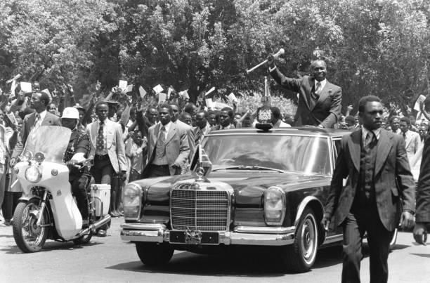 Kenya's second President Daniel Moi in his official presidential vehicle in 1978