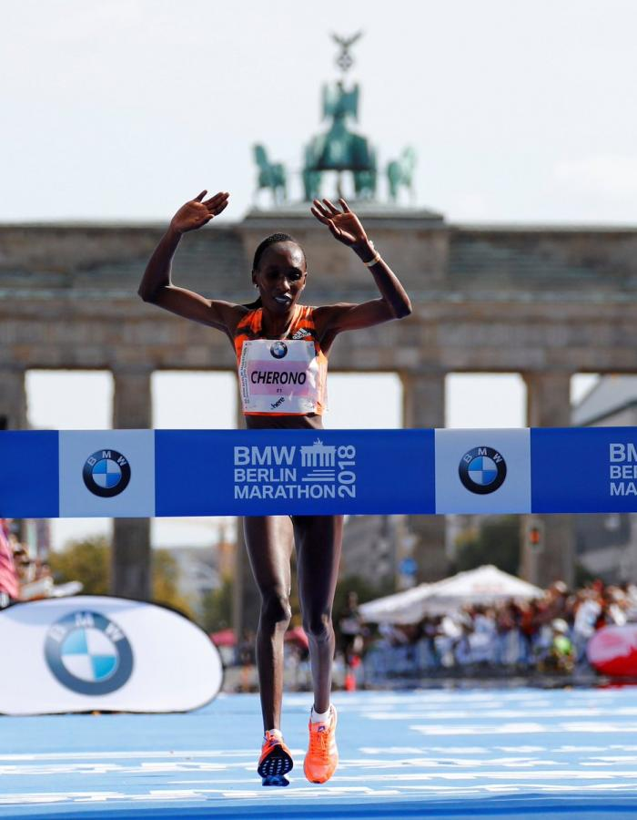 Winner of the 2018 Berlin World Marathon Gladys Cherono