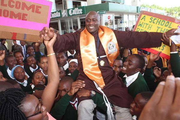 Global Teachers Prize 2019 winner Peter Tabichi celebrated by students of Keriko in Nakuru county on arrival from Dubai.