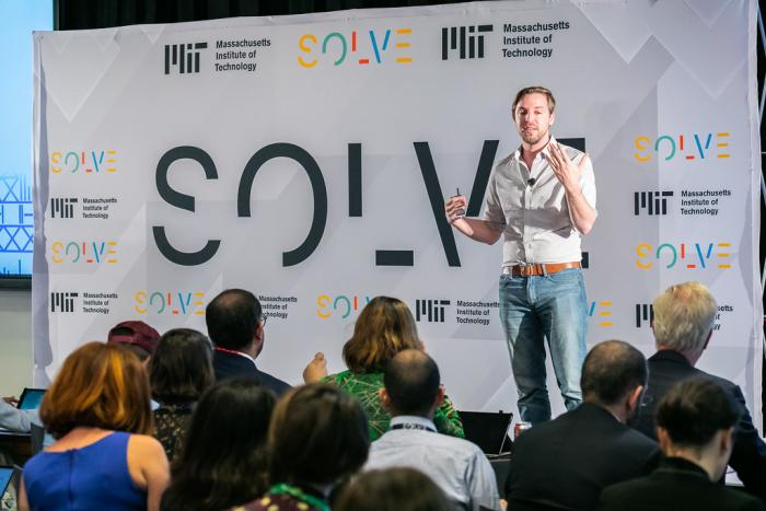 Adam Grunewald talks about Lynk during the Work of the Future session at Solve Challenge Finals, on September 23, 2018