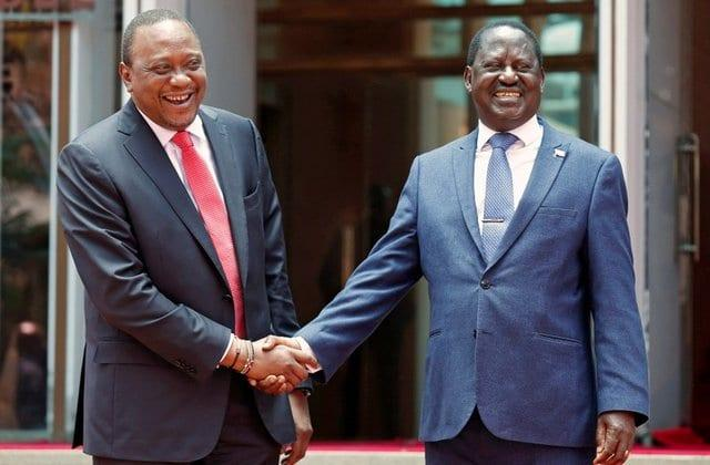 President Uhuru Kenyatta and Raila Odinga outside the statehouse in March 2018. Laikipia women's representative stated that the handshake was meant for peace, not to bring anybody into government.