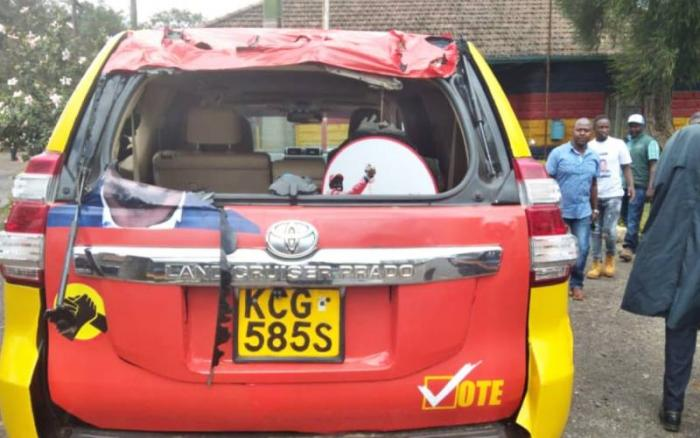 Mariga's campaign car which was attacked by rowdy youth