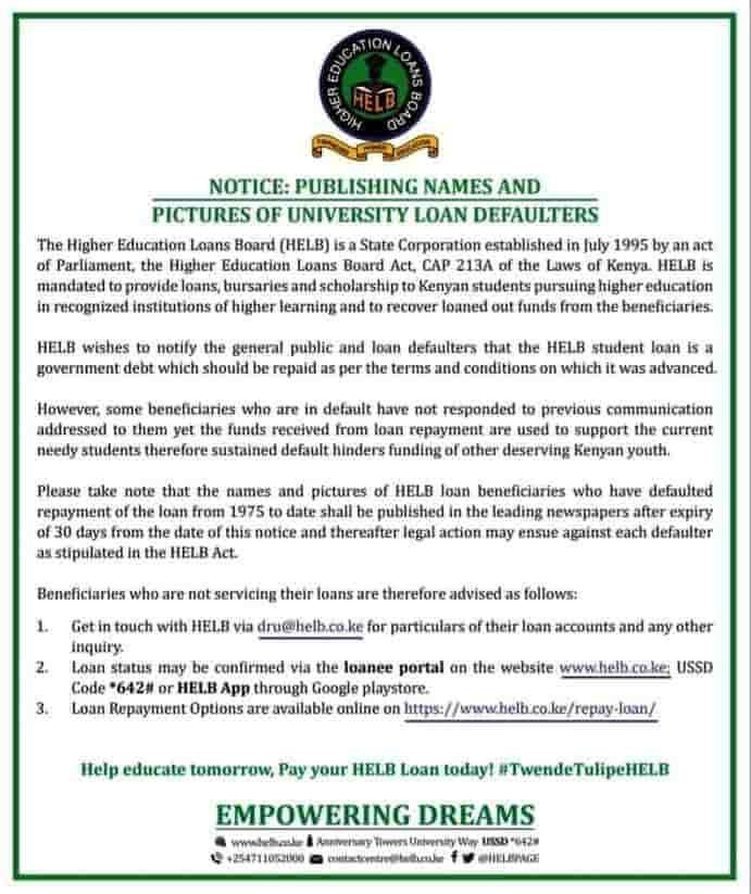 HELB's notice to defaulters on November 13, 2019.