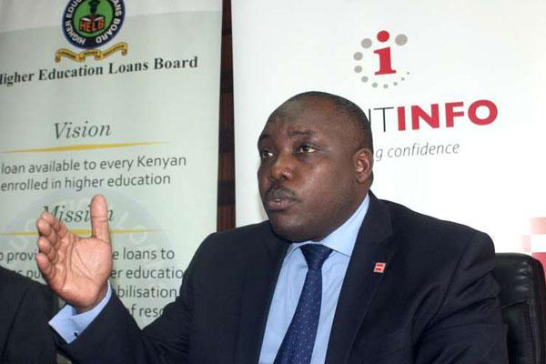 Higher Education Loans Board chief executive officer Charles Ringera speaks during the launch of a partnership with the Credit Reference Bureau in Nairobi on February 4, 2016.