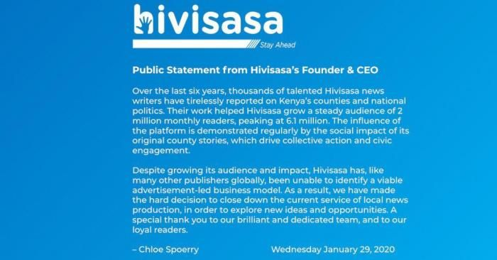 A press statement from HiviSasa.com announcing the shut down of local content production.